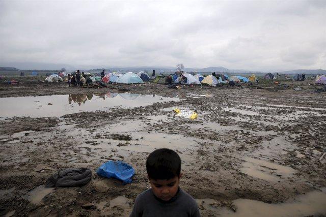 Campamento de refugiados de Idomeni, en Grecia