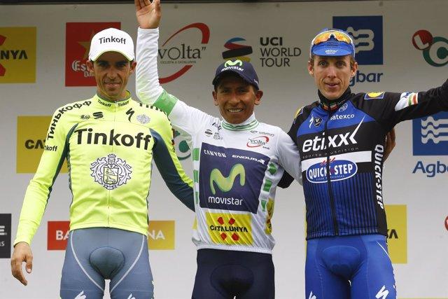 Nairo Quintana Alberto Contador Daniel Martin Volta Catalunya podio