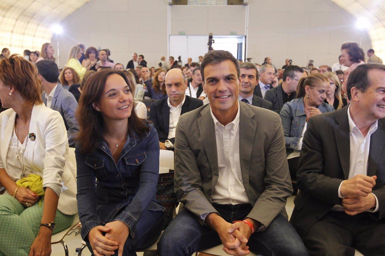 Pedro Sánchez, Sara Hernández y Abel Caballero