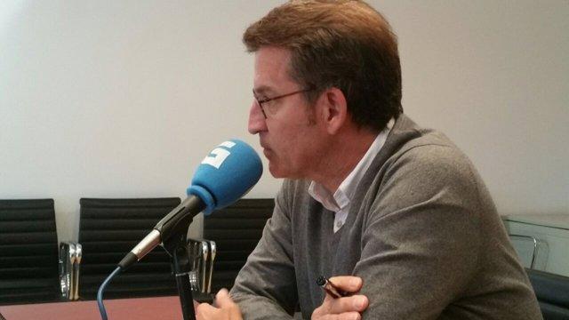 El presidente de la Xunta, Alberto Núñez Feijóo, en la entrevista con la RG