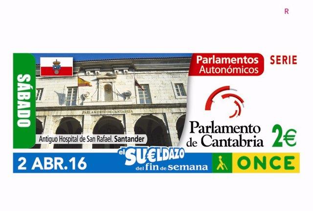 Cupón de la ONCE con la imagen del Parlamento