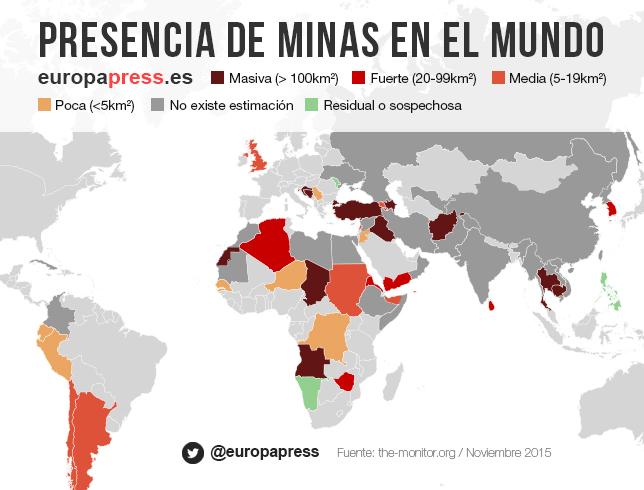 Presencia de minas en el mundo
