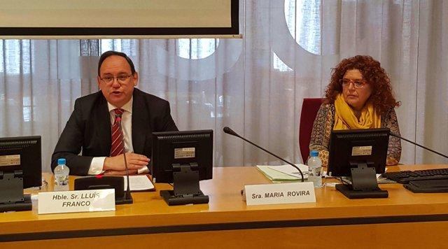 El presidente del Ctesc, Lluís Franco, y la ponente del estudio, Maria Rovira