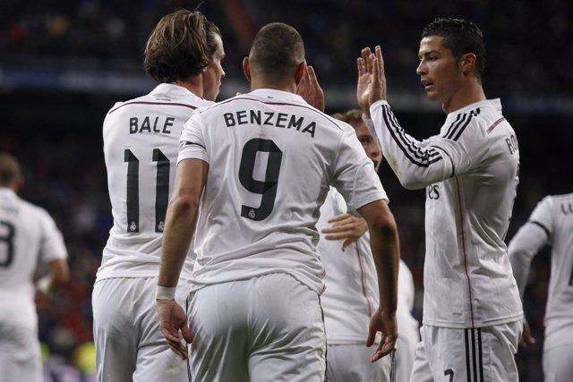 Gareth Bale, Karim Benzema y Cristiano Ronaldo