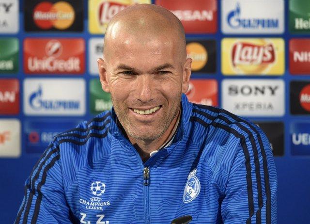Zinedine Zidane, entrenador del Real Madrid en rueda de prensa de Champions