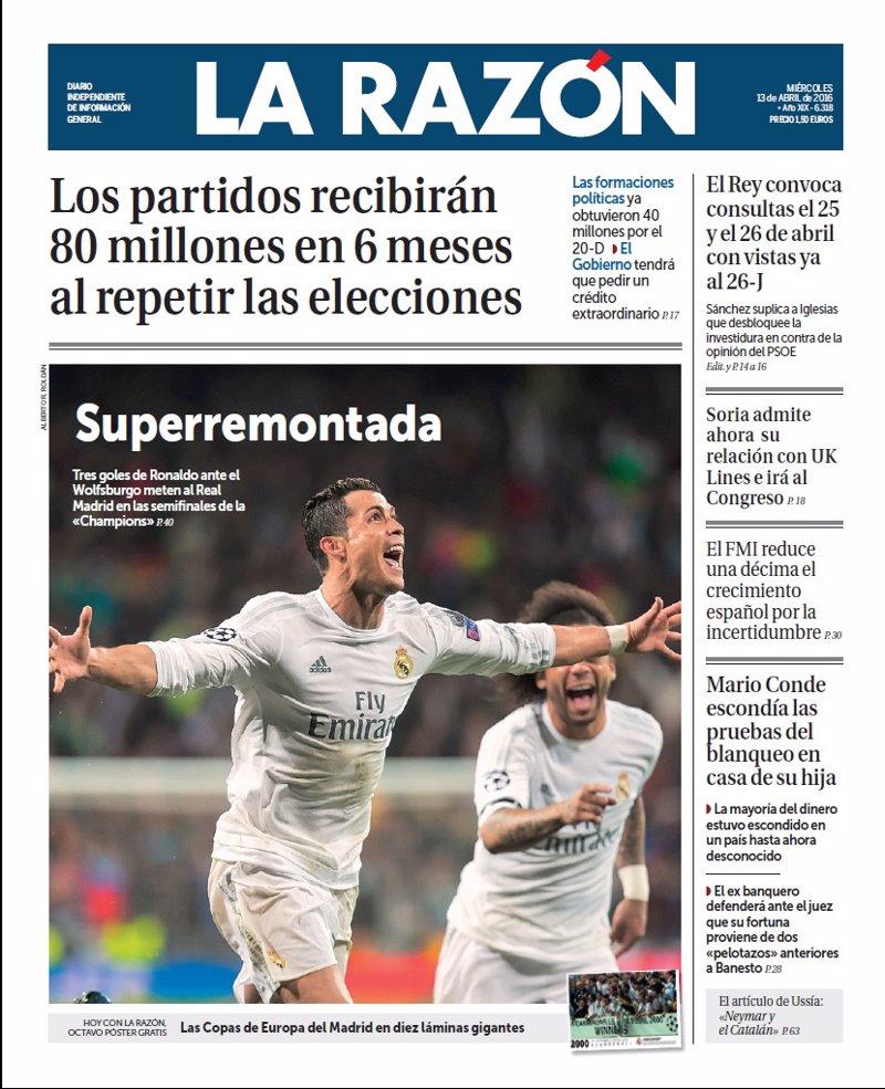 Las portadas de los periódicos de hoy, miércoles 13 de abril de 2016