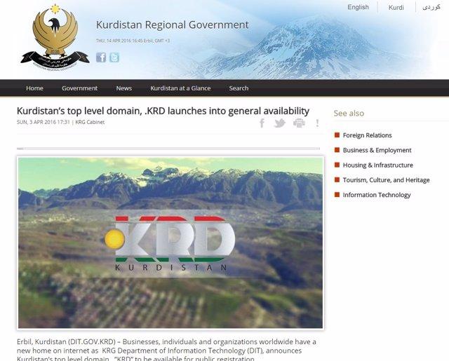 Página oficial del Gobierno kurdo iraquí, con el nuevo dominio .Krd