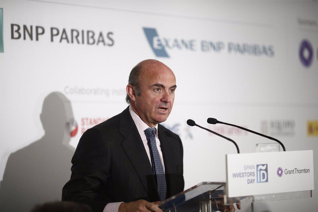 El ministro Luis de Guindos en el almuerzo del Spain Investors Day