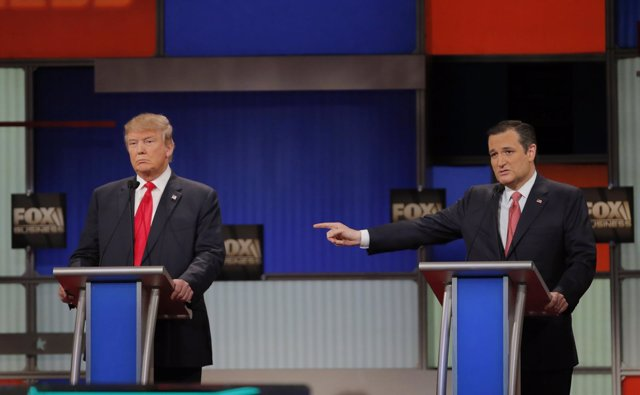 Donald Trump y Ted Cruz, debate republicano