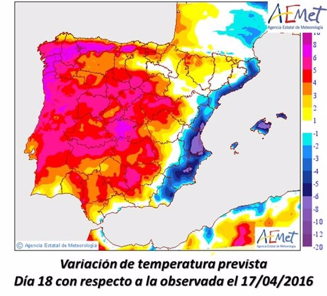 Las temperaturas bajan este lunes por el aire fresco marítimo