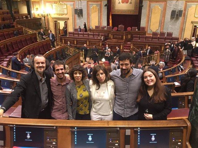 Los seis diputados de En Marea en el Congreso tras tomar posesión