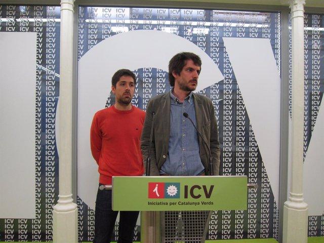 El portavoz de ICV, Ernest Urtasun, y su coordinador nacional, David Cid