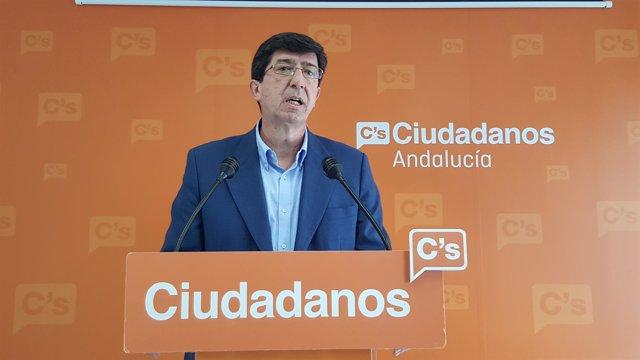 El presidente y portavoz de C's en el Parlamento de Andalucía, Juan Marín
