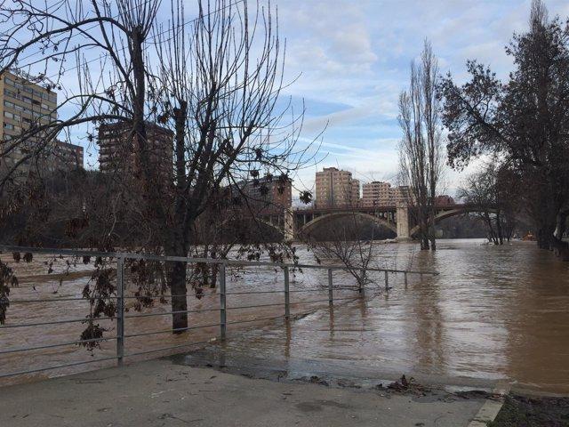 Imagen de una de las últimas crecidas del río Pisuerga