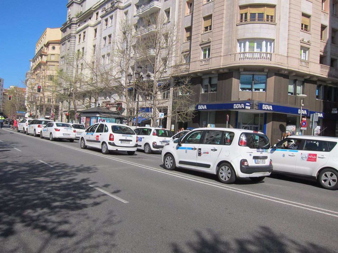 Taxistas en la manifestación