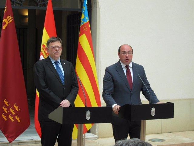 Ximo Puig y Pedro Antonio Sánchez atienden a los medios en San Esteban