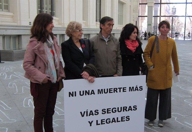 La alcaldesa de Madrid, Manuela Carmenta, durante un acto de Oxfam Intermón