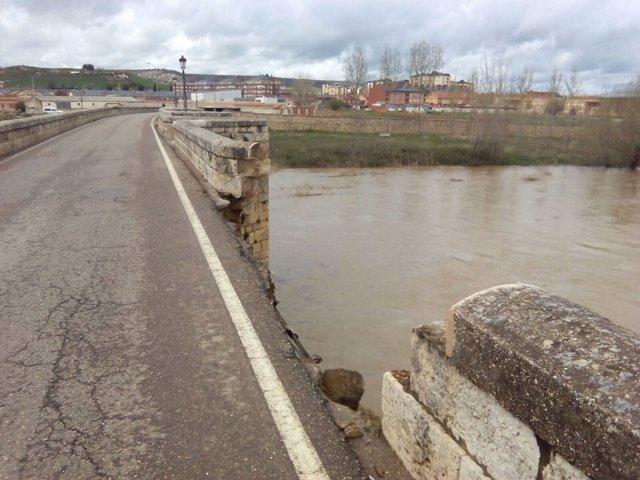 Daños que presenta el puente de piedra de Villamuriel.