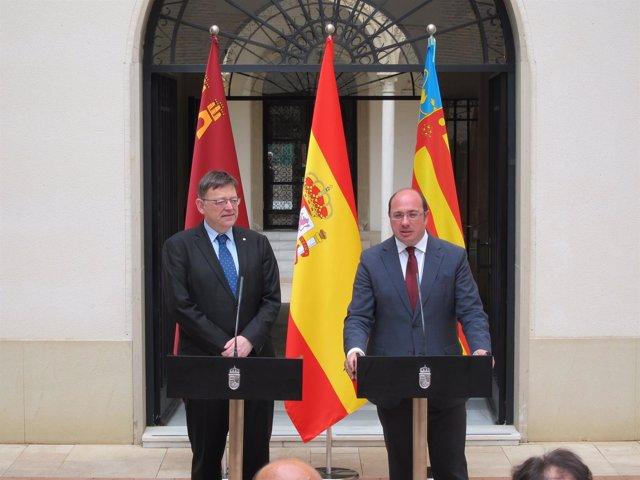 Ximo Puig y Pedro Antonio Sánchez,  enla rueda de prensa