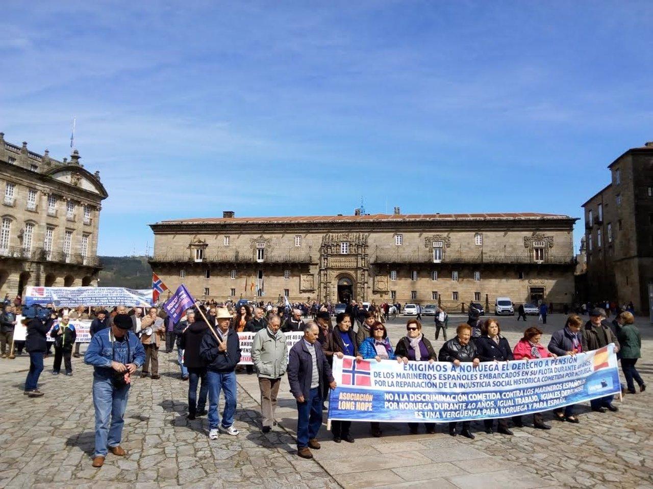 Manifestación de marinos que reclaman sus pensiones a Noruega