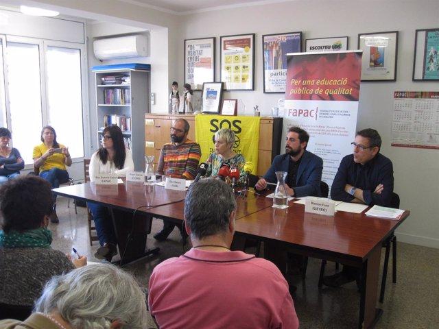 Rueda de prensa en la Fapac contra las pruebas de Primaria