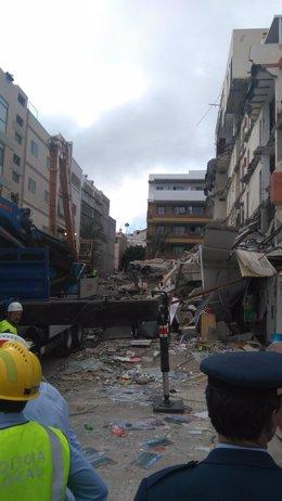 Derrumbe de un edificio en Los Cristianos