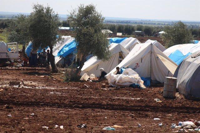 Desplazados en un campamento de Azaz, en la provincia de Alepo