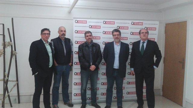 Angel Gabilondo con representantes de CC.OO. Euskadi