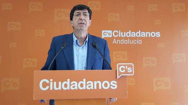 El presidente y portavoz del Grupo de C's en el Parlamento andaluz, Juan Marín