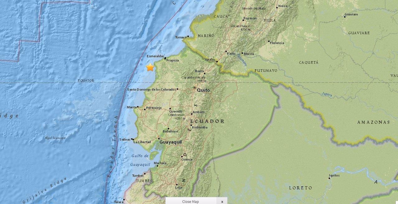 Lugar del terremoto de magnitud 6,1 frente a la costa de Ecuador