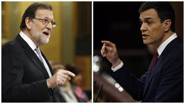 Mariano Rajoy y Pedro Sánchez en el debate de investidura en el Congreso