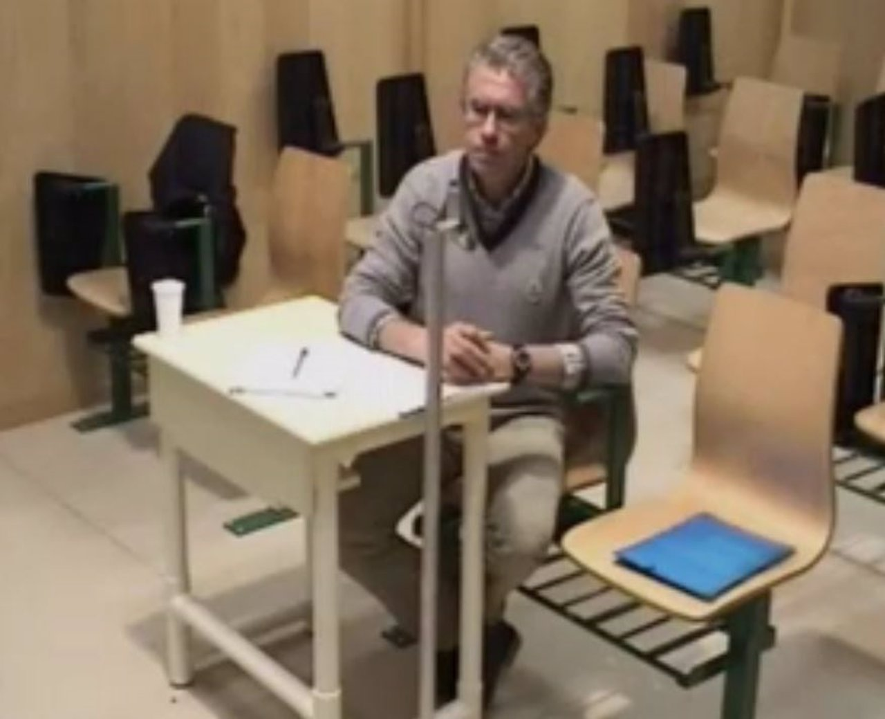 Granados durante su intervención desde la cárcel de Estremera