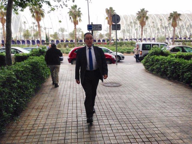 Alfonso Grau, a su llegada a la Ciudad de la Justicia