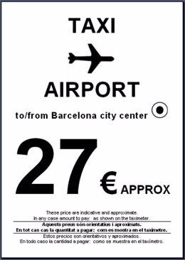 El cartel que promociona el trayecto en taxi entre el Aeropuerto y  el centro