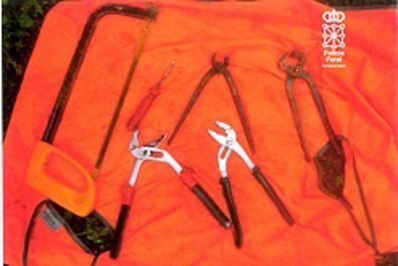 Herramientas para robar decomisadas por la patrulla
