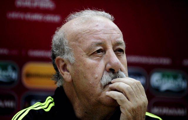 El seleccionador español Vicente del Bosque en rueda de prensa