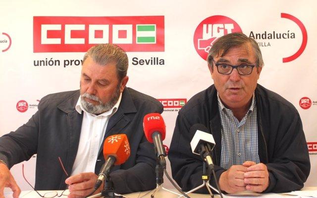 Juan Bautista Ginés (UGT) y Alfonso Vidán (CCOO), en la rueda de prensa