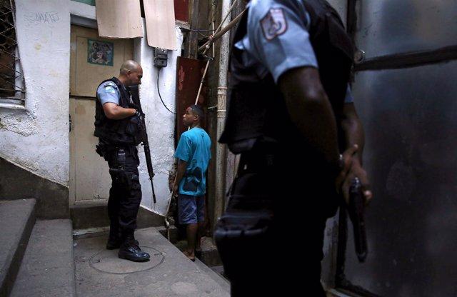 Incursión policial en la favela de Santa Marta, en Río de Janeiro
