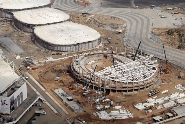 El velódromo olímpico de Río de Janeiro, en obras. Agosto de 2015