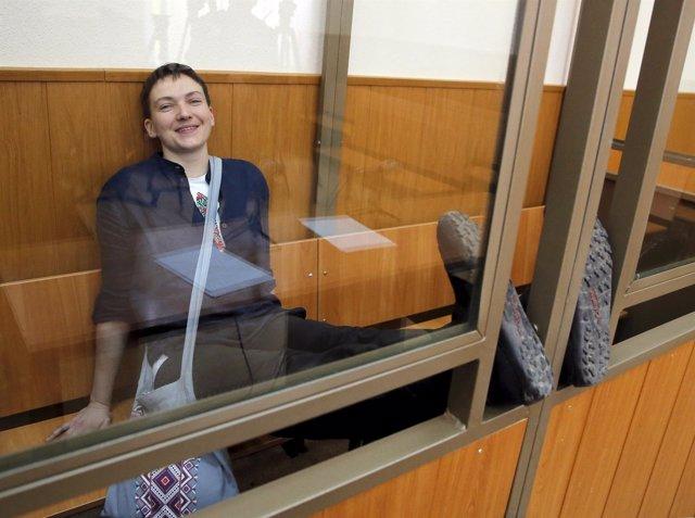 La piloto ucraniana Nadezhda Savchenko, durante el juicio