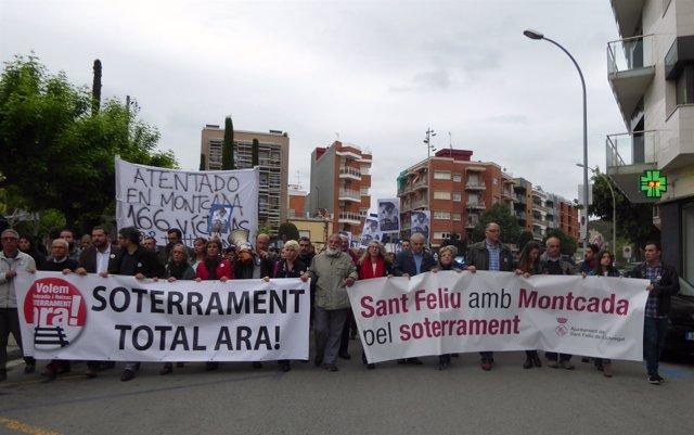 Manifestación en Montcada i Reixac por el soterramiento de las vías