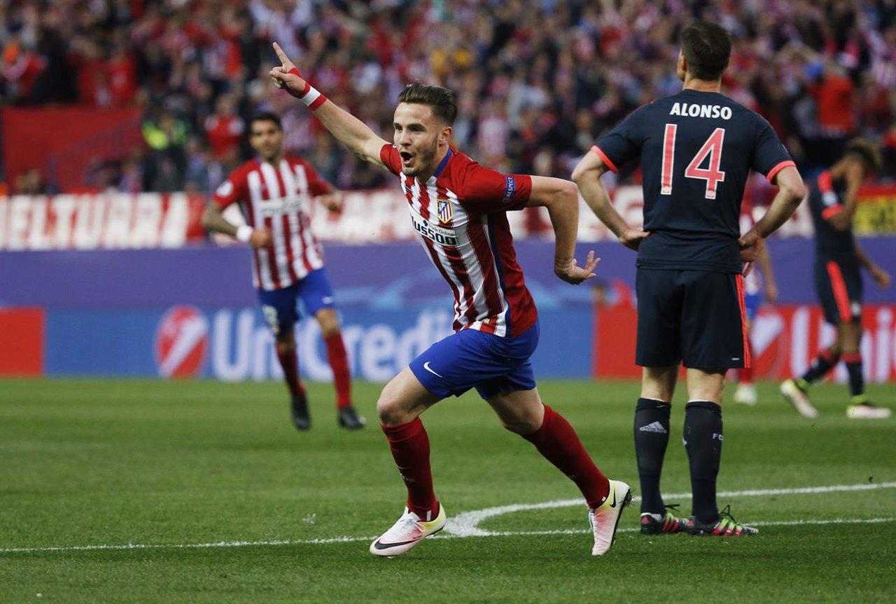 Saúl celebra el tanto marcado ante el Bayern