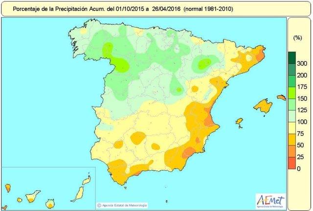 Distribución de las precipitaciones acumuladas en el año hidrológico