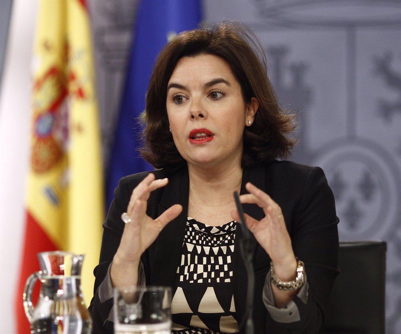 Soraya Sánez de Santamaría tras el Consejo de Ministros