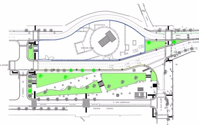 Mapa de las obras del entorno de la estación de Guinardó de la L9