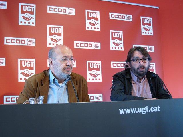 Joan Carles Gallego (CC.OO.) y Camil Ros (UGT)