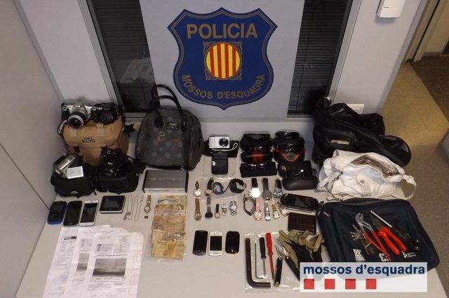 Objetos recuperados al grupo de ladrones del Vallès Occidental