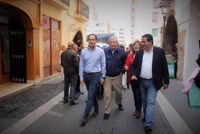 Arenas, Bonig y Moliner en el acto de partido de este sábad en Castellón