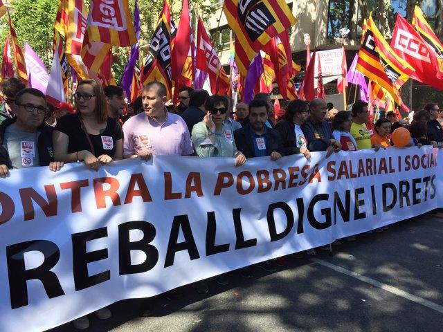 La manifestación del Día Internacional del Trabajador convocada por CC.OO. Y UGT