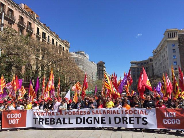 Manifestación en conmemoración del Día Internacional del Trabajador en Barcelona